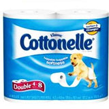 KLEENEX COTTONELLE CLEAN CARE 4 PACK - 4 DOUBLE = 8 SINGLE ROLLS