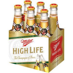 MILLER HIGH LIFE BEER - 6 PACK - 12 FL OZ EACH BOTTLE