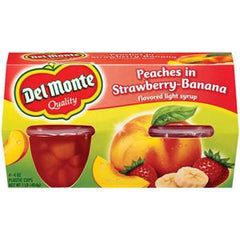 DEL MONTE PEACHES IN STRAWBERRY BANANA FLAVORED LIGHT SYRUP