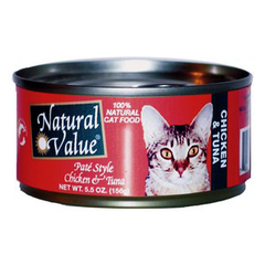 NATURAL VALUE PATE STYLE CHICKEN TUNA - NATURAL CAT FOOD