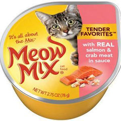 MEOW MIX MARKET SELECT WITH REAL SALMON & CRAB MEAT IN SAUCE