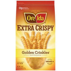 ORE IDA EXTRA CRISPY GOLDEN CRINCKES FRENCH FRIED POTATOES