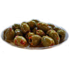 PITTED SICILIAN SPICY GREEN OLIVES
