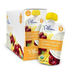 PLUM ORGANIC SECOND BLENDS CHERRY SWEET CORN & GREEK YOGURT BABY FOOD