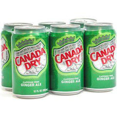 CANADA DRY GINGER ALE 6 PACK - 12 FLOZ EACH CAN