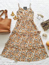 Load image into Gallery viewer, Taupe Flower Midi Dress - Shop Boho PR