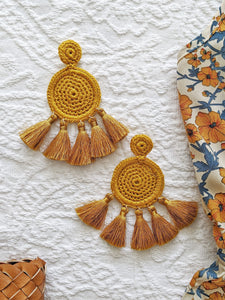 Golden Crochet Earrings - Shop Boho PR