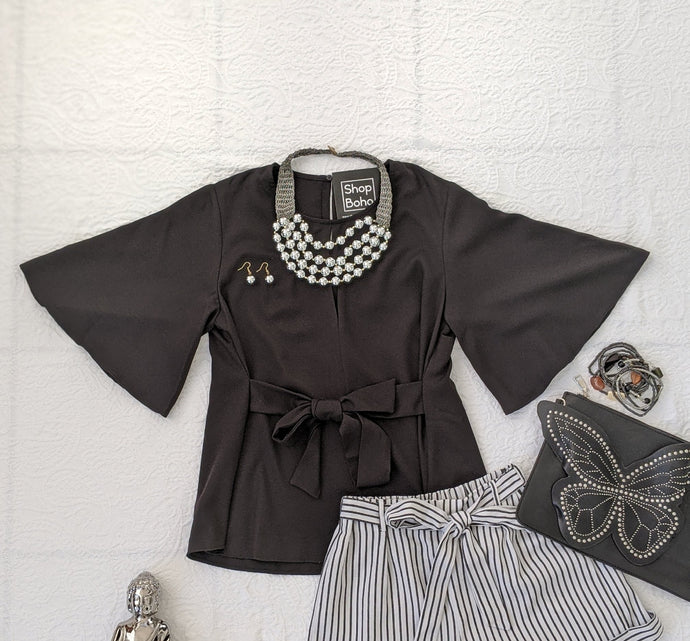 Black Bell Front Tie Top