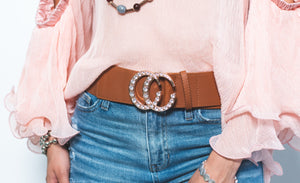 Diamond Moons Brown Leather Belt - Shop Boho PR