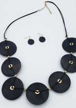 Load image into Gallery viewer, Black Wood Circles Necklace - Shop Boho PR
