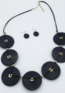 Black Wood Circles Necklace
