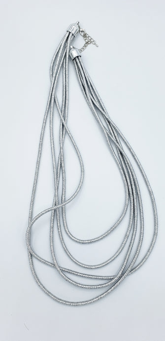 Silver Strings Long Necklace
