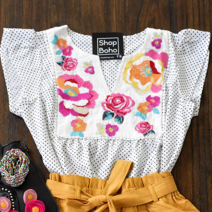 Embroidery Top Polka Dot