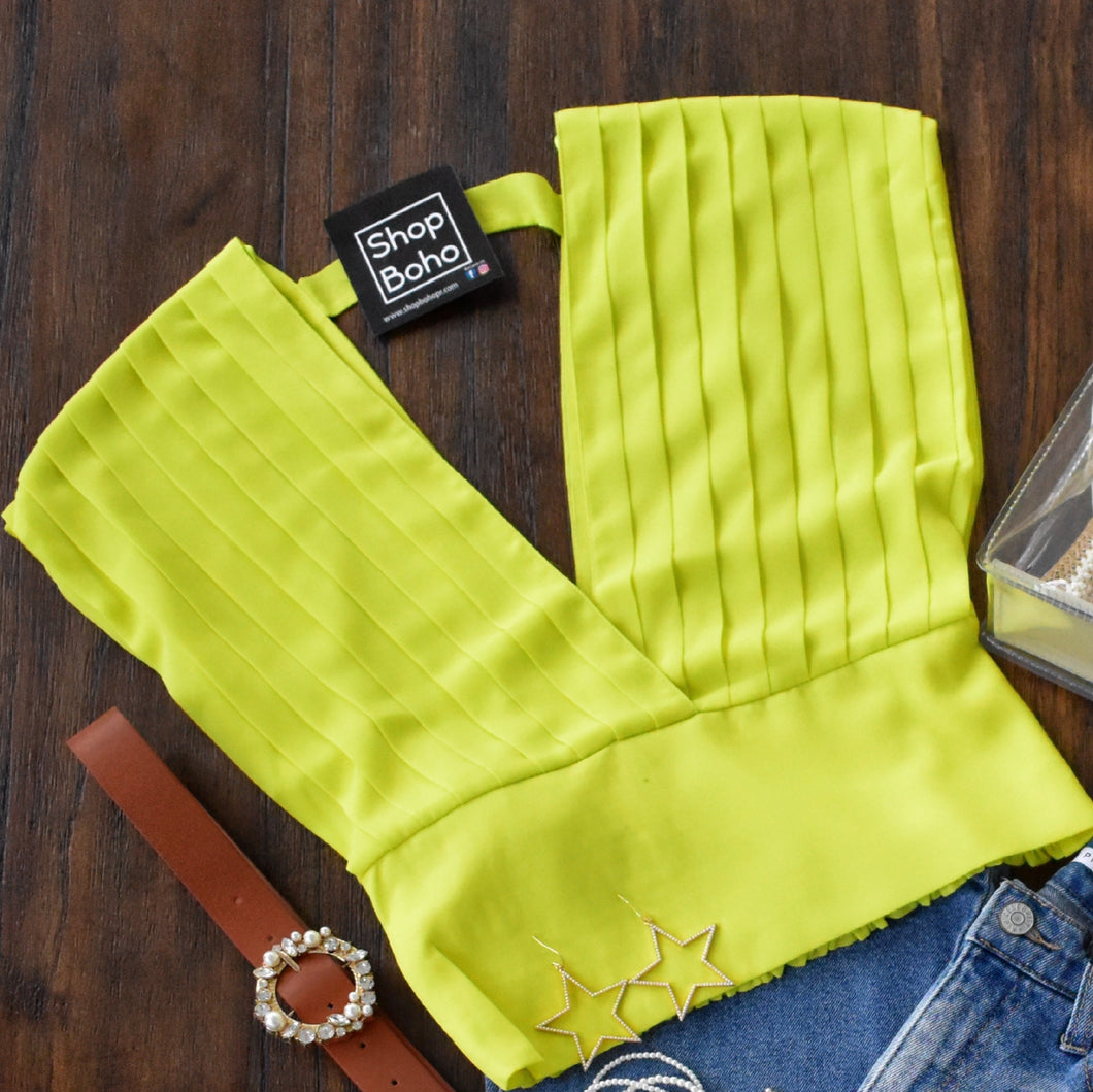 Sleeveless V Top Lime