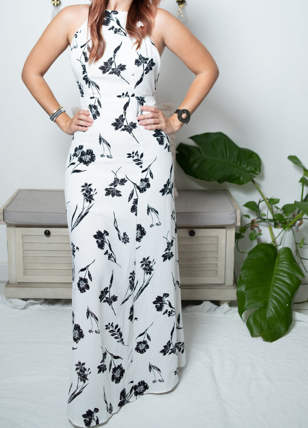 White Maxi Dress with Printed Black Flowers