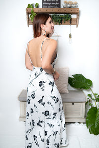 White Maxi Dress with Printed Black Flowers - Shop Boho PR