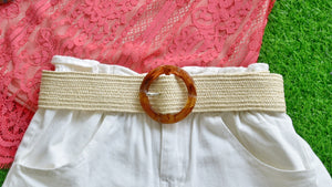 Cream Raffia Belt