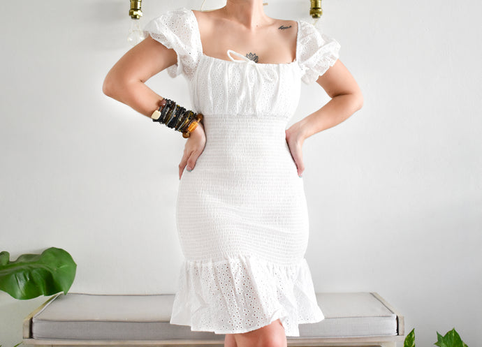 White Eyelet Dress - Shop Boho PR