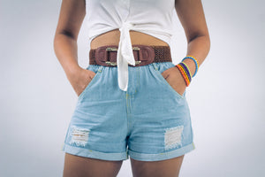Denim Shorts with Distressed Accents