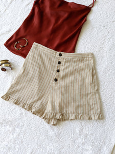 High Waist Striped Front Buttoned Shorts