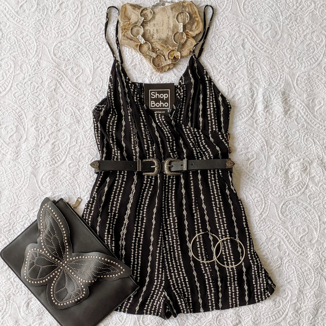 Black Romper with White Print - Shop Boho PR