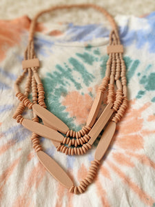 Peach Pink Wood Necklace + Matching Earrings