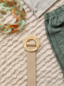 Faux Leather Belt with Marble Round Buckle - Shop Boho PR