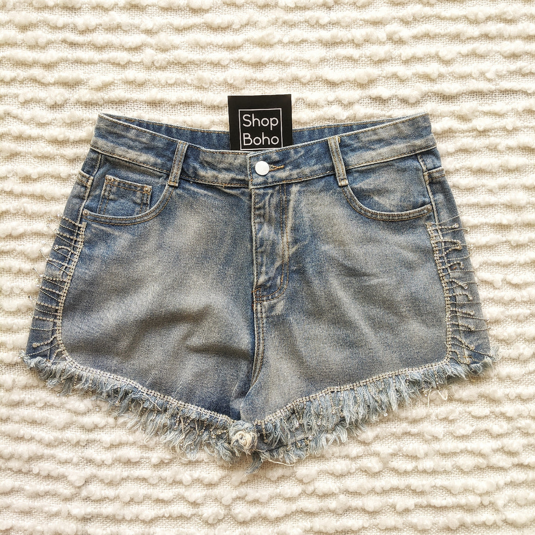 Denim Short with Rhinestones - Shop Boho PR