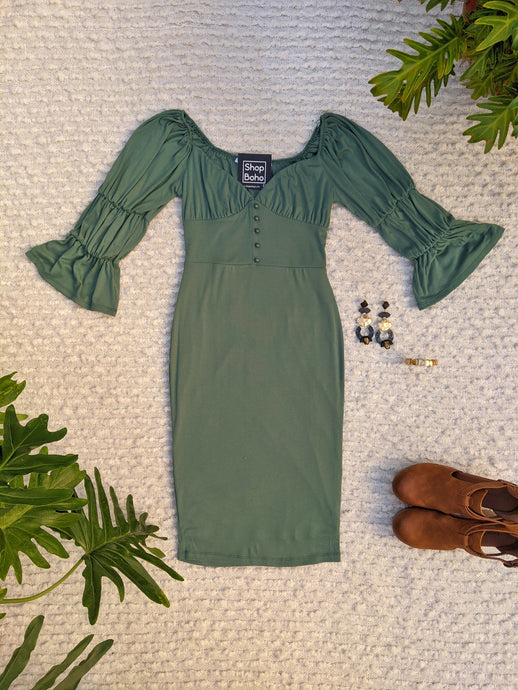 Shirred Sleeve Dress with Front Button Trail - Shop Boho PR