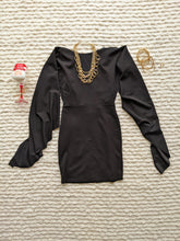 Load image into Gallery viewer, Black Mini Dress with Hanging Sleeve - Shop Boho PR