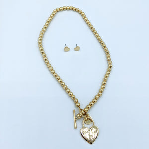 Heart Lock Pendant Beaded Necklace With Matching Earrings