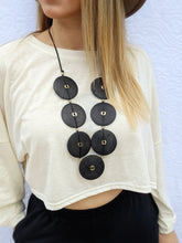 Load image into Gallery viewer, Black Wood Circles Necklace