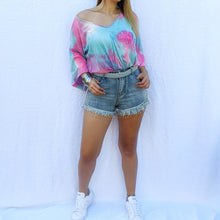 Load image into Gallery viewer, Tie Dye Kimono Sleeve Front Knot Hem Blouse