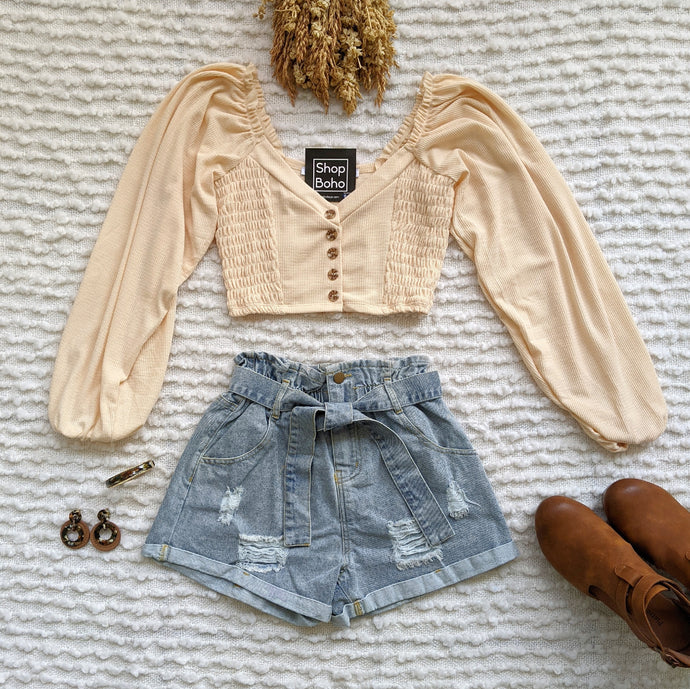 Balloon Long Sleeve Buttoned Front Smocking Crop Top