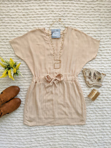 Short Sleeve V Neck Dress with Waist Tie