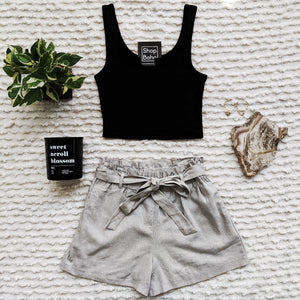 Notch Neck Crop Tank Top