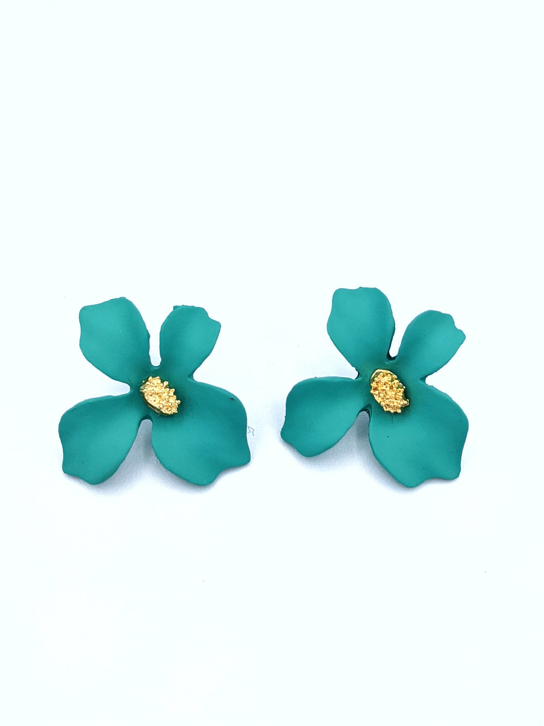 Golden Stamen Painted Flower Design Statement Earrings
