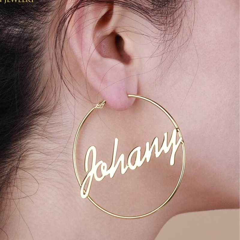 Custom Name Earrings | 14K Gold Overlay