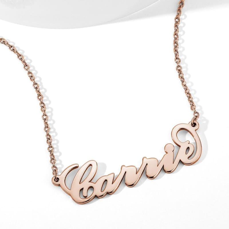 Ernest Martheo Personalized Name Custom Necklace - Alison Font / Rose Gold Plated