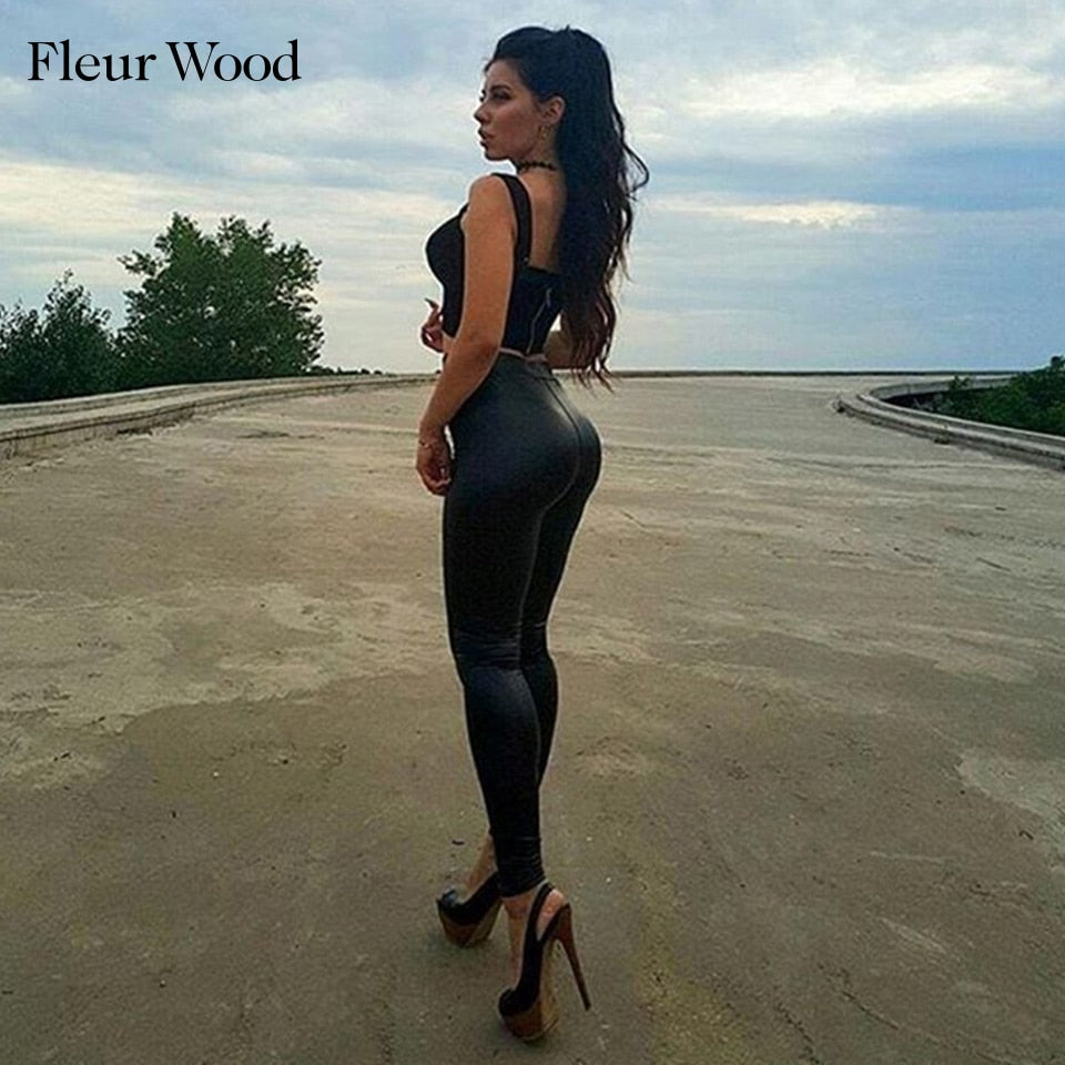 Fleur Wood Leather Style Leggings
