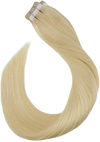 Light Blonde #613 Tape In Human Hair Extensions