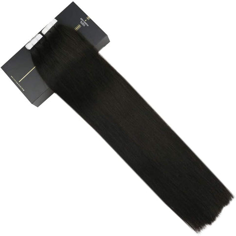 Jet Black #1 Tape In Human Hair Extensions