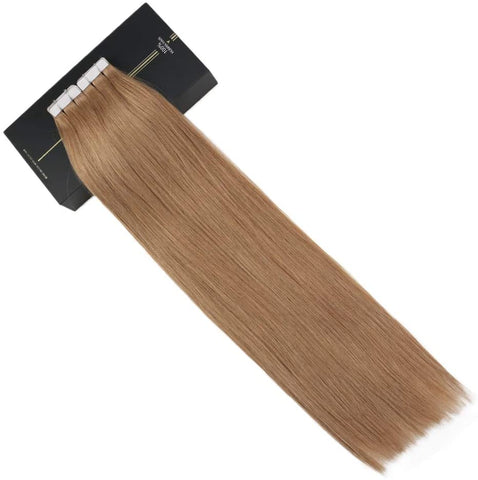 Caramel Brown #10 Tape In Human Hair Extensions