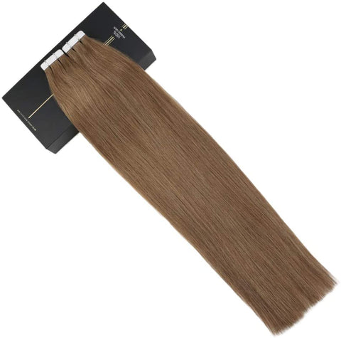 Ash Brown #8 Tape In Human Hair Extensions