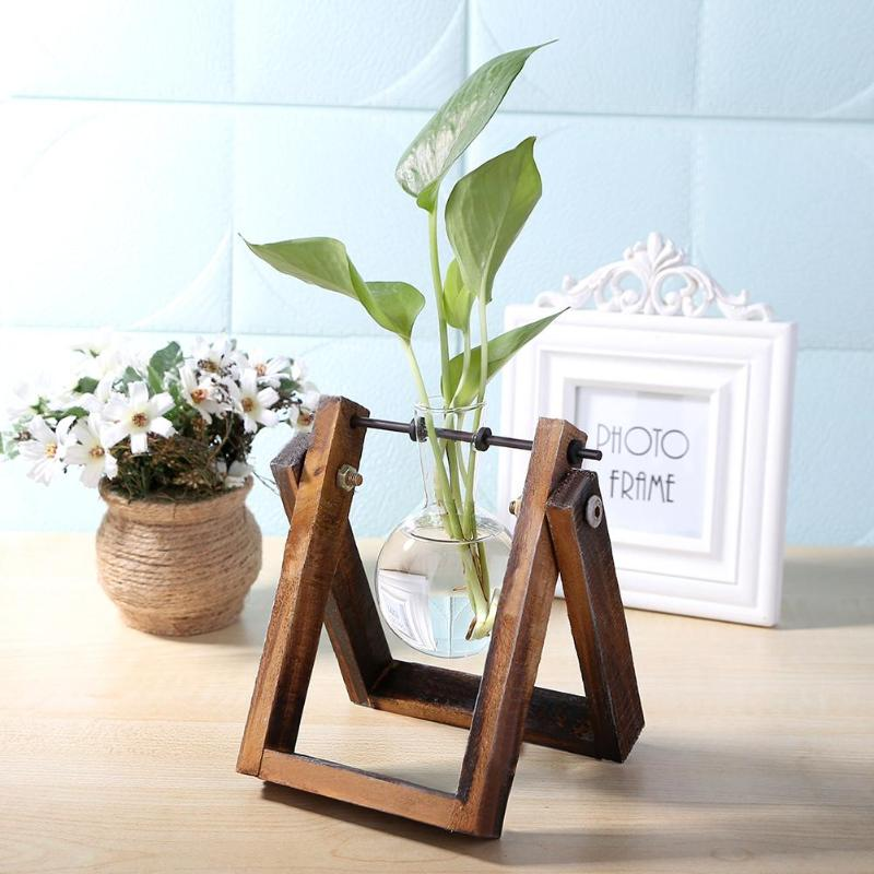Vintage Creative Glass Vase Hydroponic Tabletop Plant Pot Transparent With Wooden Tray Vase For Flowers Decoration Home