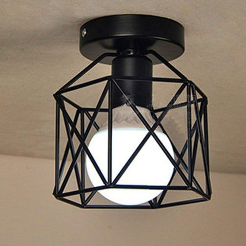 Steel Cage Iron Geometric Vintage LED Downlight Ceiling Mounted Light Spot Light Indoor Bedroom Home LED Lamp Light