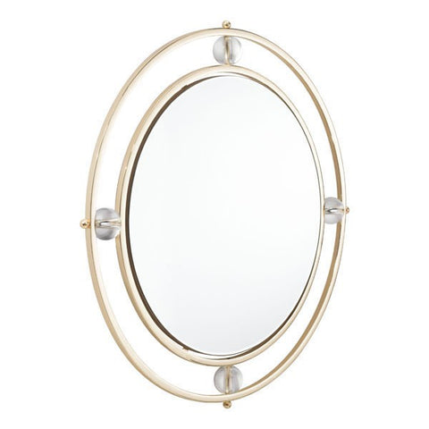 Floating round lucite mirror