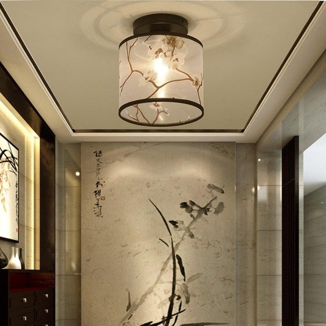Traditional Chinese Led Ceiling Light Lamp Hallway Bedroom Living Room Hotel Decorative Lights Fabric Lampshade Ceiling Lamp