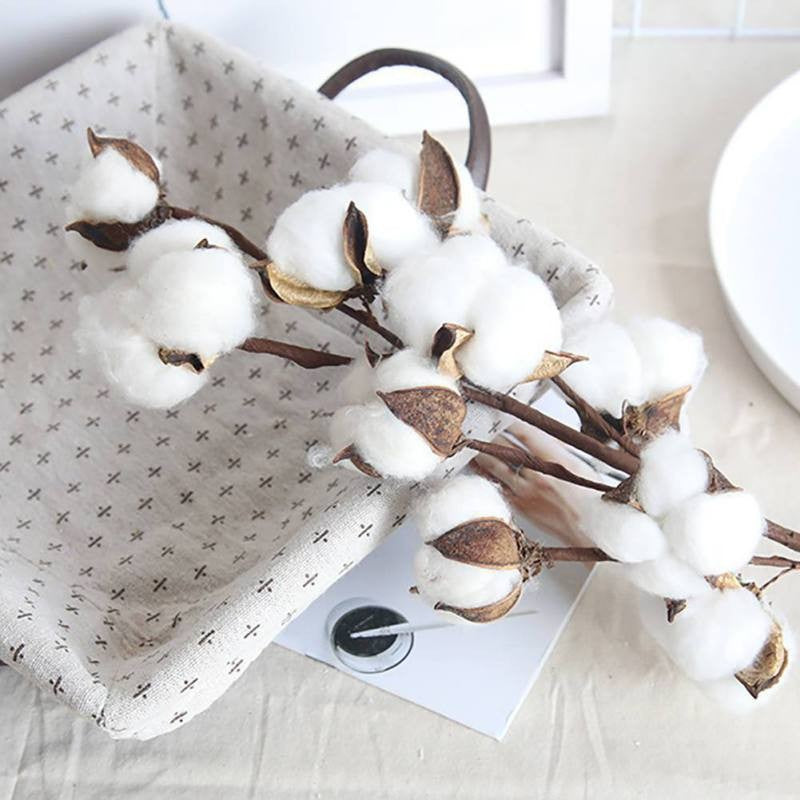 Naturally Dried Cotton Flower Artificial Plants Floral Branch For Wedding Party Decoration Fake Flowers Home Decor
