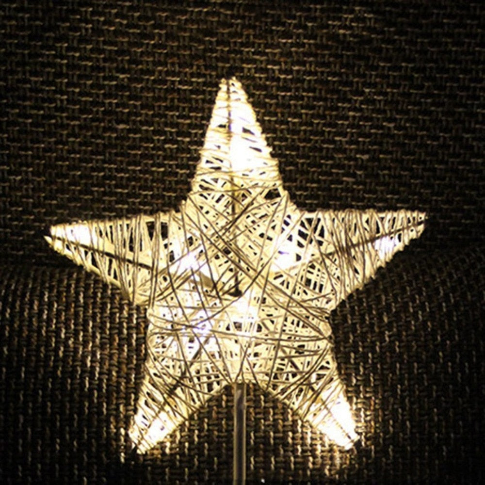 Rattan Star Light Battery-powered Bedroom Night Light Warm White Home Decor Table Lamp for Party Wedding